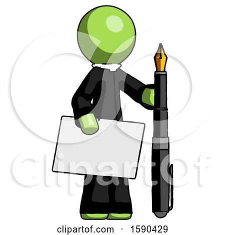 Green Clergy Man Holding Large Envelope and Calligraphy Pen by Leo Blanchette