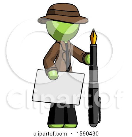 Green Detective Man Holding Large Envelope and Calligraphy Pen by Leo Blanchette