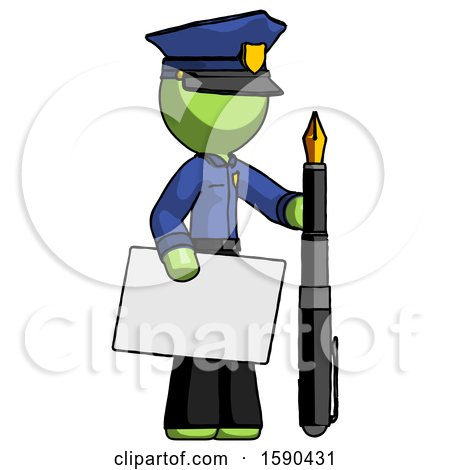 Green Police Man Holding Large Envelope and Calligraphy Pen by Leo Blanchette