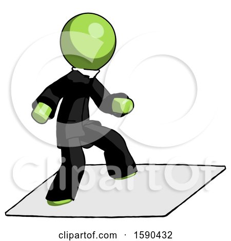 Green Clergy Man on Postage Envelope Surfing by Leo Blanchette