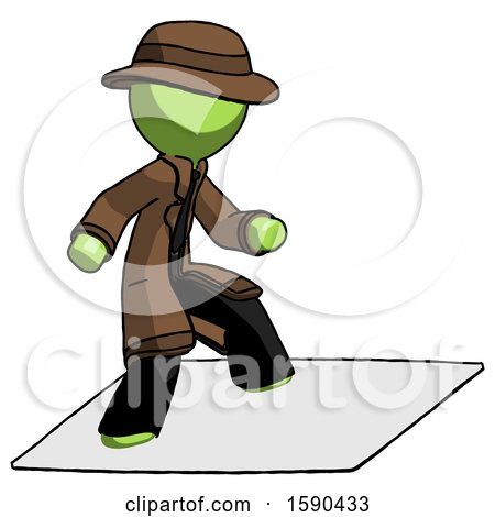 Green Detective Man on Postage Envelope Surfing by Leo Blanchette