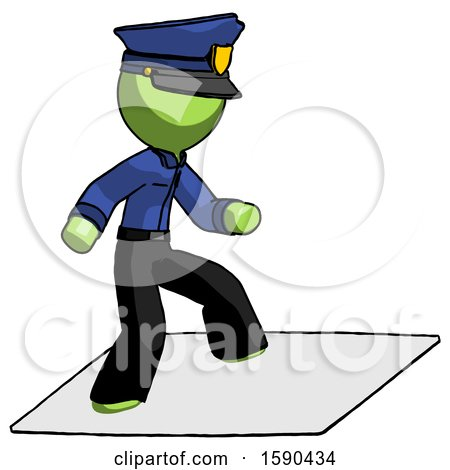 Green Police Man on Postage Envelope Surfing by Leo Blanchette