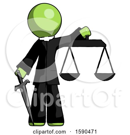 Green Clergy Man Justice Concept with Scales and Sword, Justicia Derived by Leo Blanchette