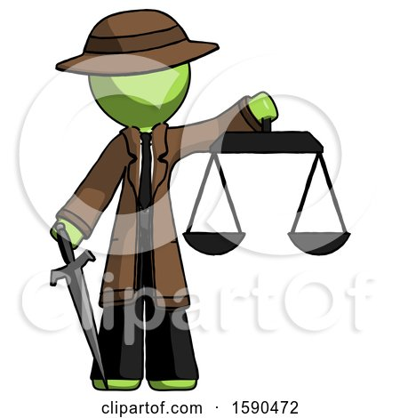 Green Detective Man Justice Concept with Scales and Sword, Justicia Derived by Leo Blanchette