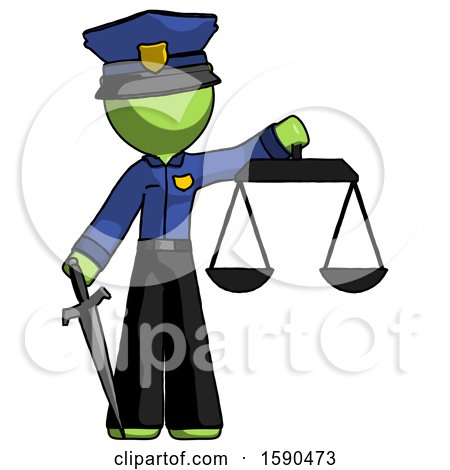 Green Police Man Justice Concept with Scales and Sword, Justicia Derived by Leo Blanchette