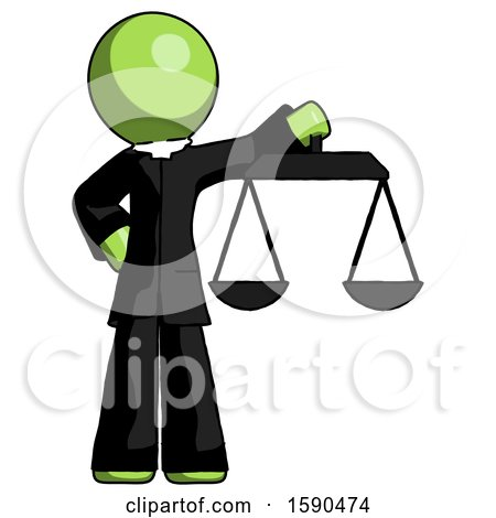 Green Clergy Man Holding Scales of Justice by Leo Blanchette