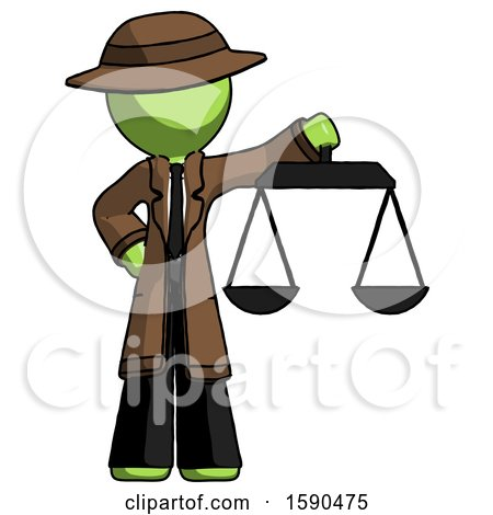 Green Detective Man Holding Scales of Justice by Leo Blanchette