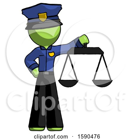 Green Police Man Holding Scales of Justice by Leo Blanchette