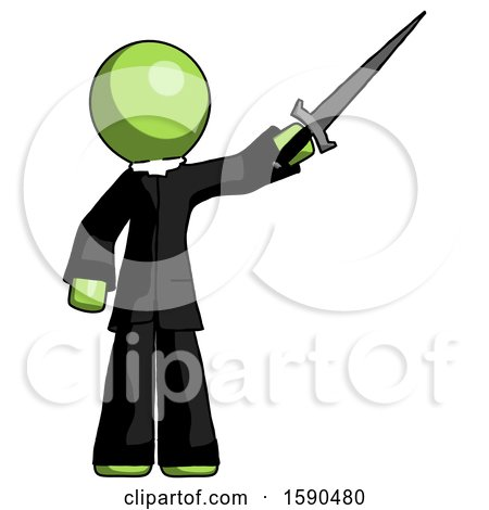 Green Clergy Man Holding Sword in the Air Victoriously by Leo Blanchette