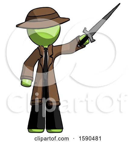 Green Detective Man Holding Sword in the Air Victoriously by Leo Blanchette