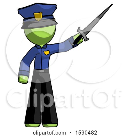 Green Police Man Holding Sword in the Air Victoriously by Leo Blanchette