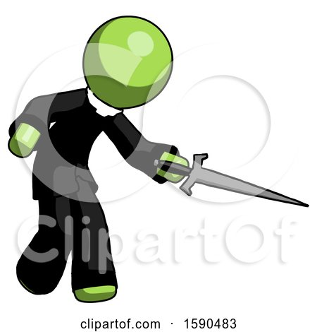 Green Clergy Man Sword Pose Stabbing or Jabbing by Leo Blanchette