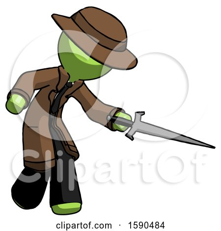 Green Detective Man Sword Pose Stabbing or Jabbing by Leo Blanchette