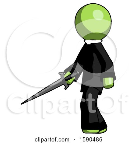 Green Clergy Man with Sword Walking Confidently by Leo Blanchette