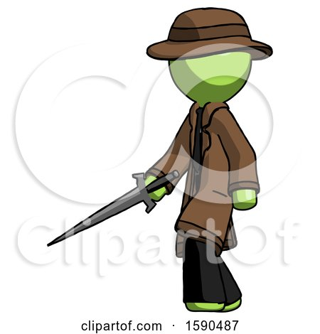 Green Detective Man with Sword Walking Confidently by Leo Blanchette