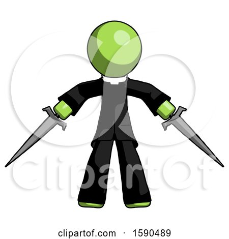 Green Clergy Man Two Sword Defense Pose by Leo Blanchette