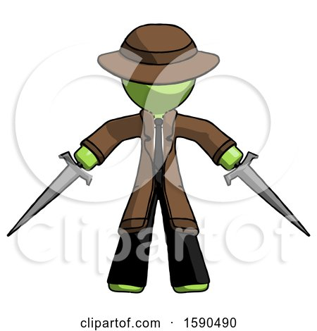 Green Detective Man Two Sword Defense Pose by Leo Blanchette