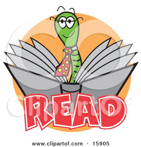 Happy Male Green Worm Wearing A Tie And Reading A Book Clipart Illustration by Andy Nortnik
