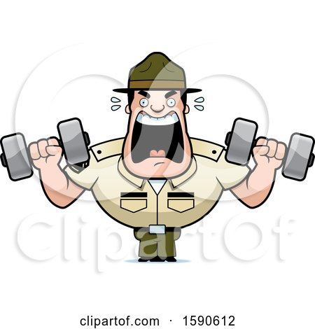 Clipart of a Cartoon Male Drill Sergeant Shouting and Working out with Dumbbells in Boot Camp - Royalty Free Vector Illustration by Cory Thoman