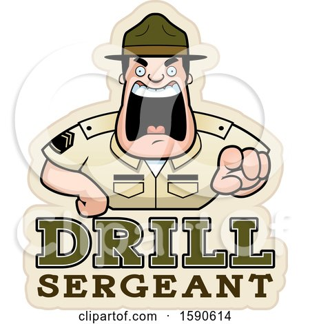 Clipart of a Cartoon Male Drill Sergeant Shouting and Pointing Outwards over Text - Royalty Free Vector Illustration by Cory Thoman