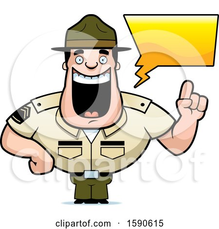 Clipart of a Cartoon Male Drill Sergeant Holding up a Finger and Talking - Royalty Free Vector Illustration by Cory Thoman