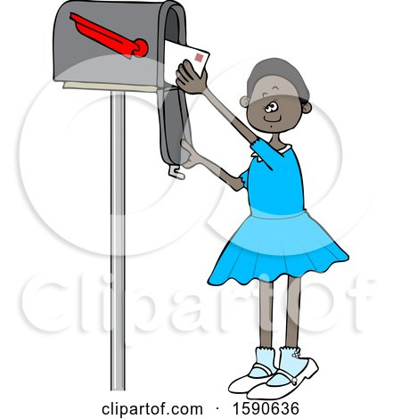 Clipart of a Cartoon Black Girl Checking the Mail from a Tall Box - Royalty Free Vector Illustration by djart