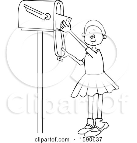 Clipart of a Cartoon Lineart Black Girl Checking the Mail from a Tall Box - Royalty Free Vector Illustration by djart