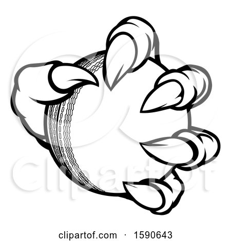 Clipart of a Black and White Monster or Eagle Claw Holding a Cricket Ball - Royalty Free Vector Illustration by AtStockIllustration