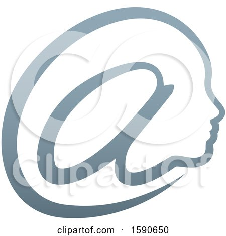 Clipart of a Gradient Profiled Face in an Email Arobase at Symbol - Royalty Free Vector Illustration by AtStockIllustration