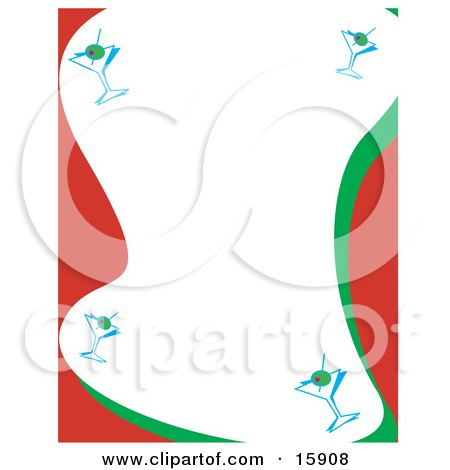 Stationery Border Of Martini Glasses With Olives Clipart Illustration by Andy Nortnik