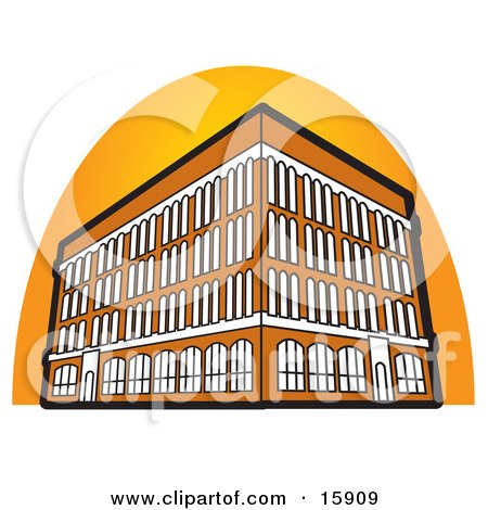 Commercial Building With Four Floors Clipart Illustration by Andy Nortnik