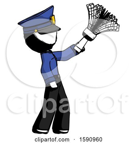 Ink Police Man Dusting with Feather Duster Upwards by Leo Blanchette