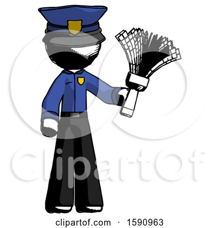 Ink Police Man Holding Feather Duster Facing Forward by Leo Blanchette