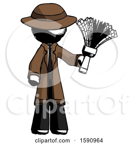 Ink Detective Man Holding Feather Duster Facing Forward by Leo Blanchette