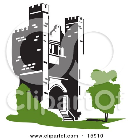 Castle Tower With A Tree And Shrubs Clipart Illustration by Andy Nortnik