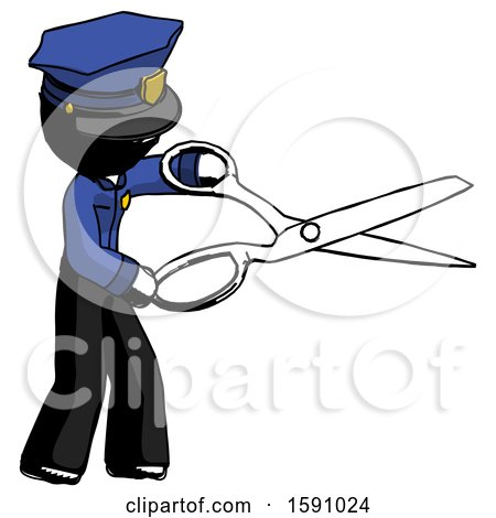 Ink Police Man Holding Giant Scissors Cutting out Something by Leo Blanchette