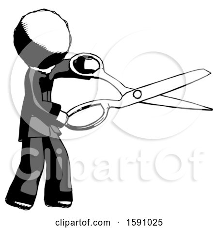 Ink Clergy Man Holding Giant Scissors Cutting out Something by Leo Blanchette