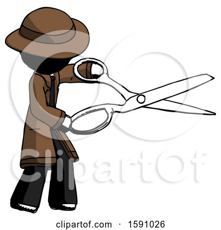 Ink Detective Man Holding Giant Scissors Cutting out Something by Leo Blanchette
