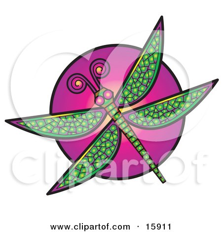 Colorful Dragonfly Over A Purple Circle Clipart Illustration by Andy Nortnik