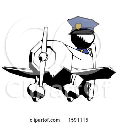 Ink Police Man Flying in Geebee Stunt Plane Viewed from Below by Leo Blanchette