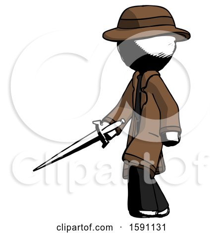 Ink Detective Man with Sword Walking Confidently by Leo Blanchette