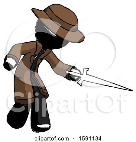 Ink Detective Man Sword Pose Stabbing or Jabbing by Leo Blanchette