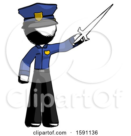 Ink Police Man Holding Sword in the Air Victoriously by Leo Blanchette