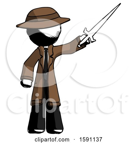 Ink Detective Man Holding Sword in the Air Victoriously by Leo Blanchette