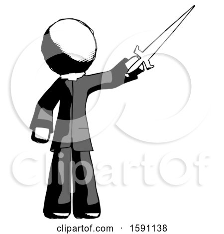 Ink Clergy Man Holding Sword in the Air Victoriously by Leo Blanchette