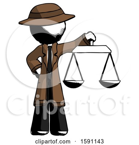 Ink Detective Man Holding Scales of Justice by Leo Blanchette