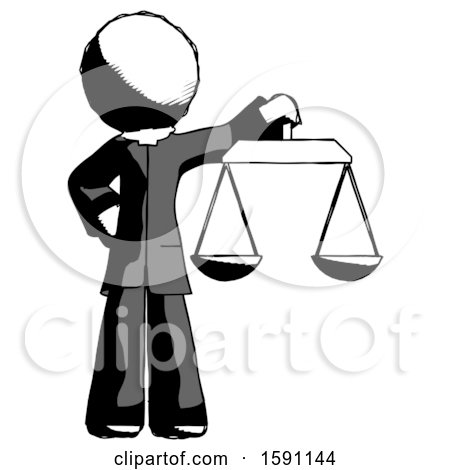 Ink Clergy Man Holding Scales of Justice by Leo Blanchette
