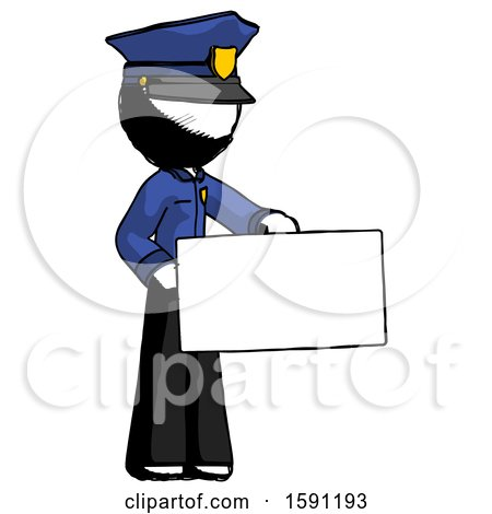 Ink Police Man Presenting Large Envelope by Leo Blanchette