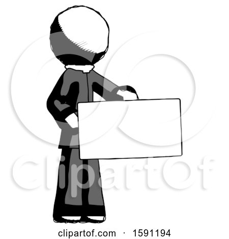 Ink Clergy Man Presenting Large Envelope by Leo Blanchette