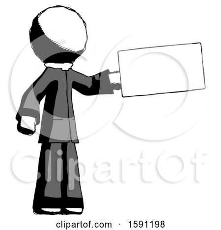 Ink Clergy Man Holding Large Envelope by Leo Blanchette